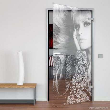 Glass door Blonde Woman
