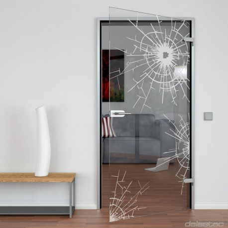 Glass door Bullet Hole