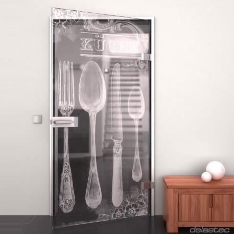 Glastür Retro Küche