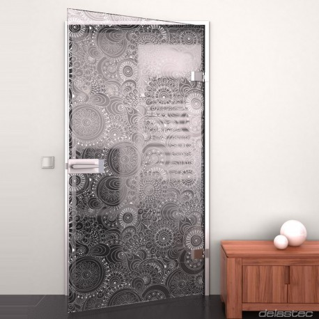 Glass door Retro Flowers