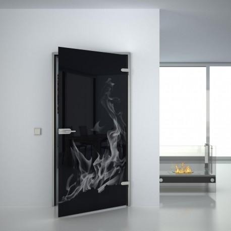 Lacobel Glass door Flames