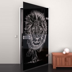 Lacobel-Glass door Lion King