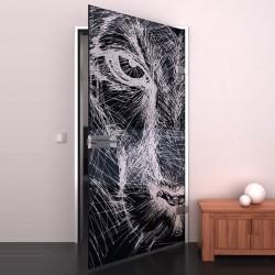 Lacobel-Glass door Sketch of a lion