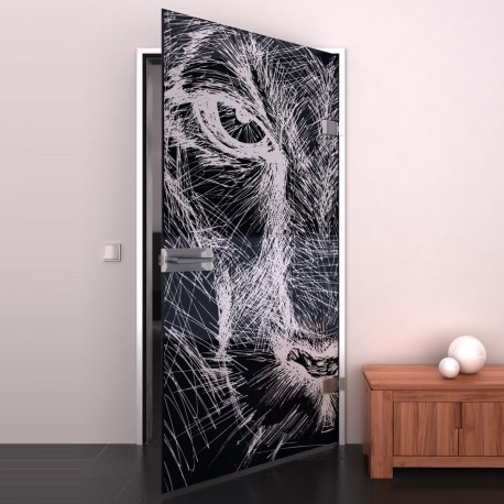 Lacobel-Glass door Sketch of a lion