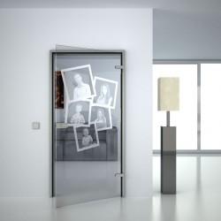 Glass door with desired motif
